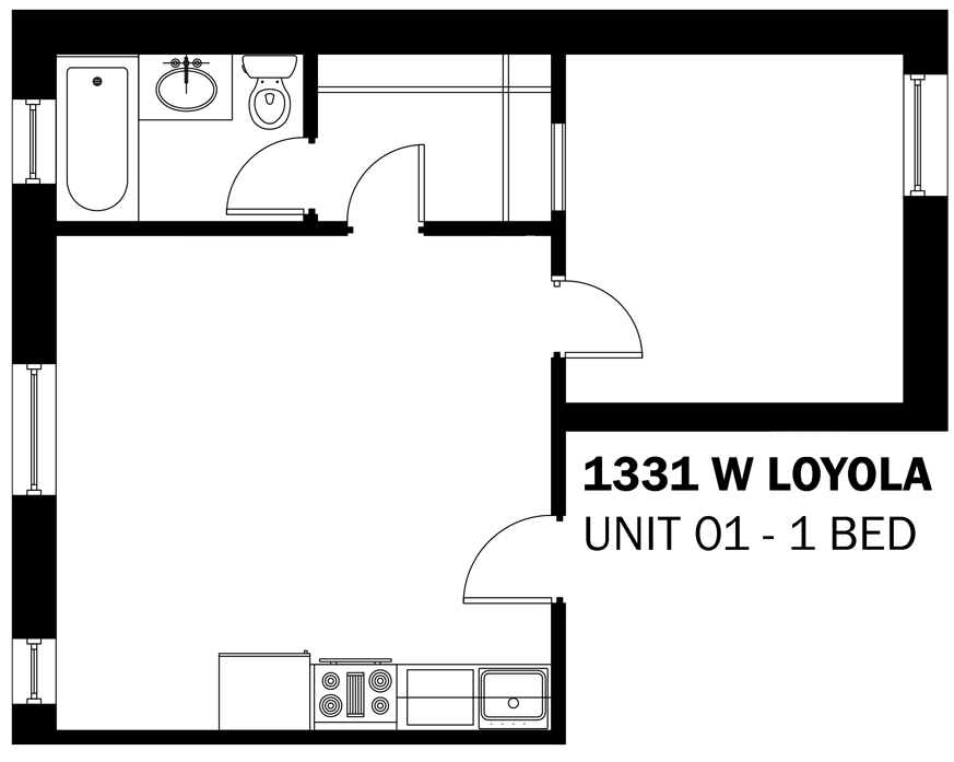 1 Bedroom 1 Bathroom Apartment for rent at 1331 W. Loyola in Chicago, IL