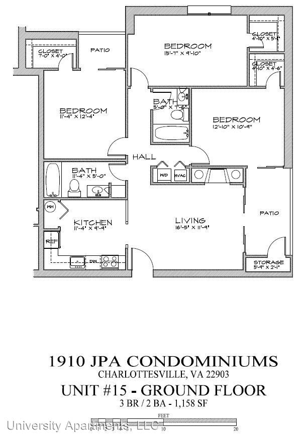 3 Bedrooms 2 Bathrooms Apartment for rent at 1910 Jefferson Park Avenue in Charlottesville, VA