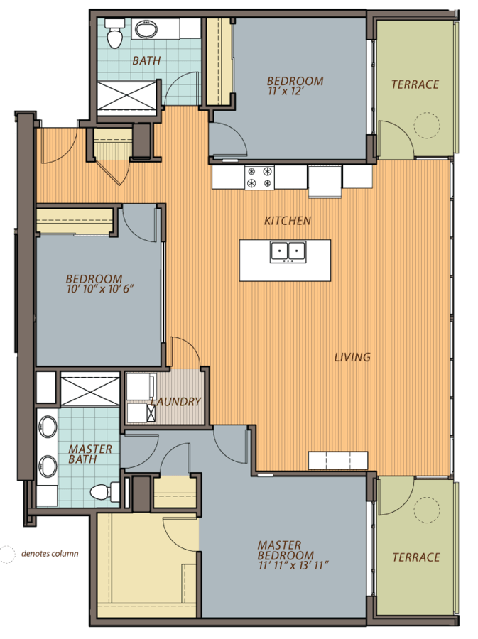 3 Bedrooms 2 Bathrooms Apartment for rent at Ovation 309 in Madison, WI