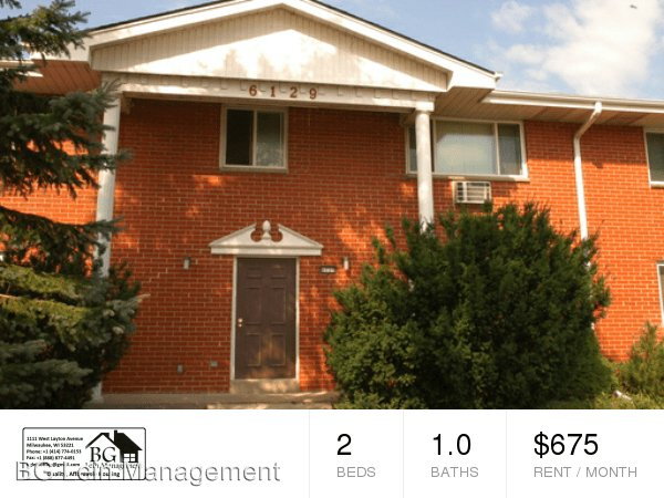 2 Bedrooms 1 Bathroom Apartment for rent at 6129 S. 13th Street in Milwaukee, WI