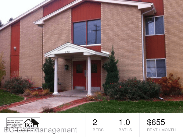 2 Bedrooms 1 Bathroom Apartment for rent at 3411 S. Chicago Avenue in South Milwaukee, WI