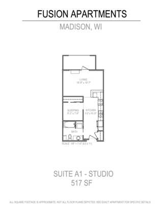 Studio 1 Bathroom Apartment for rent at Fusion@841 in Madison, WI