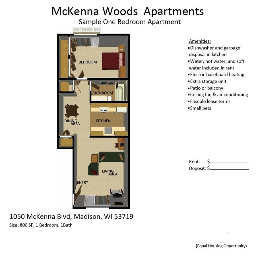 1 Bedroom 1 Bathroom Apartment for rent at McKenna Woods in Madison, WI