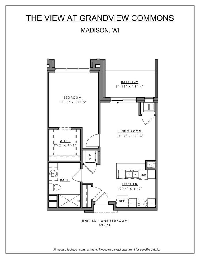 1 Bedroom 1 Bathroom Apartment for rent at The View At Grandview Commons in Madison, WI