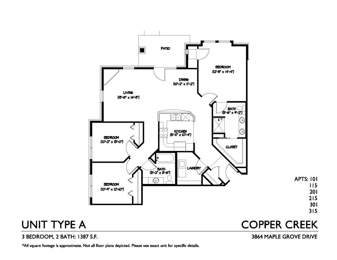 3 Bedrooms 2 Bathrooms Apartment for rent at Copper Creek in Madison, WI