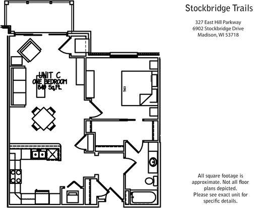 1 Bedroom 1 Bathroom Apartment for rent at Stockbridge Trails in Madison, WI