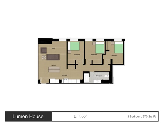 3 Bedrooms 1 Bathroom Apartment for rent at Lumen House in Madison, WI