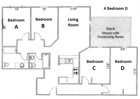 4 Bedrooms 2 Bathrooms Apartment for rent at Ph Apartments in Madison, WI
