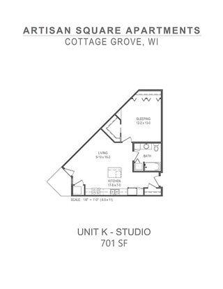 Studio 1 Bathroom Apartment for rent at Artisan Square in Cottage Grove, WI