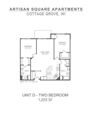 2 Bedrooms 2 Bathrooms Apartment for rent at Artisan Square in Cottage Grove, WI