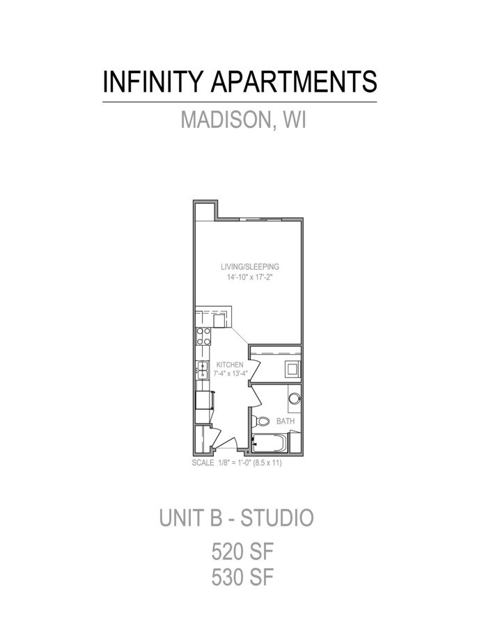 Studio 1 Bathroom Apartment for rent at Infinity in Madison, WI
