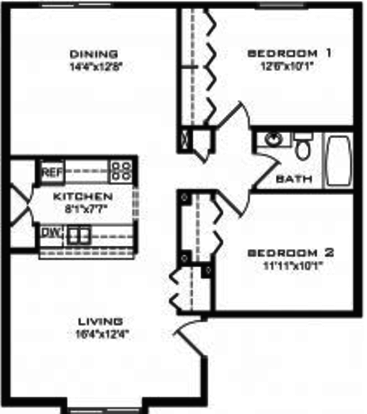 2 Bedrooms 1 Bathroom Apartment for rent at Brooks Towne Townhomes in Madison, WI