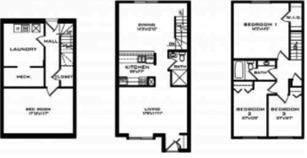 3 Bedrooms 2 Bathrooms Apartment for rent at Brooks Towne Townhomes in Madison, WI