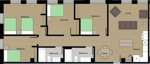 4 Bedrooms 2 Bathrooms Apartment for rent at Lumen House in Madison, WI
