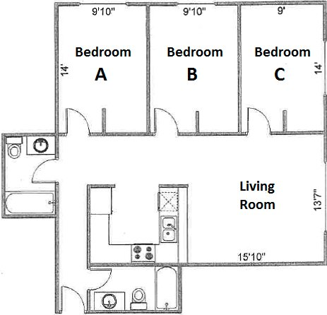 3 Bedrooms 2 Bathrooms Apartment for rent at Pres House Apartments in Madison, WI