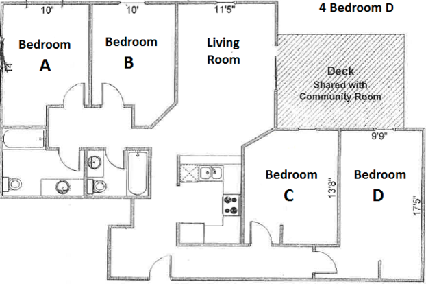 4 Bedrooms 2 Bathrooms Apartment for rent at Pres House Apartments in Madison, WI