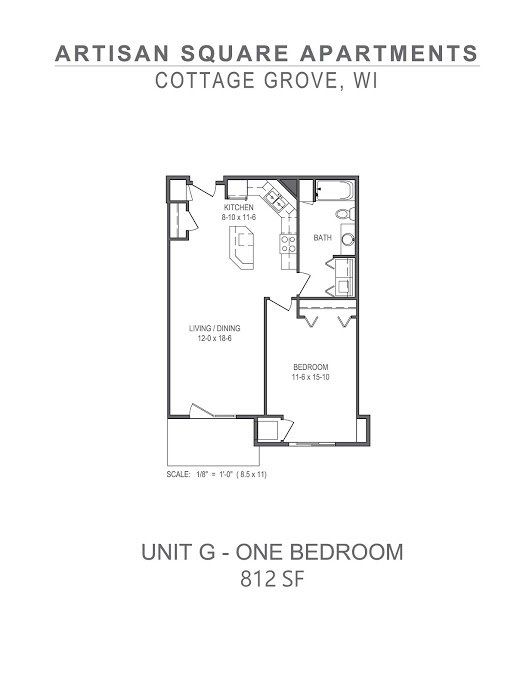 1 Bedroom 1 Bathroom Apartment for rent at Artisan Square in Cottage Grove, WI