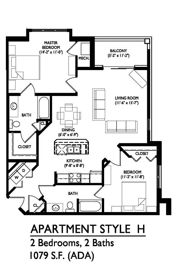 2 Bedrooms 2 Bathrooms Apartment for rent at Waldorf Midtown in Madison, WI