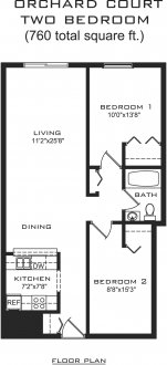 2 Bedrooms 1 Bathroom Apartment for rent at Orchard Court in Madison, WI