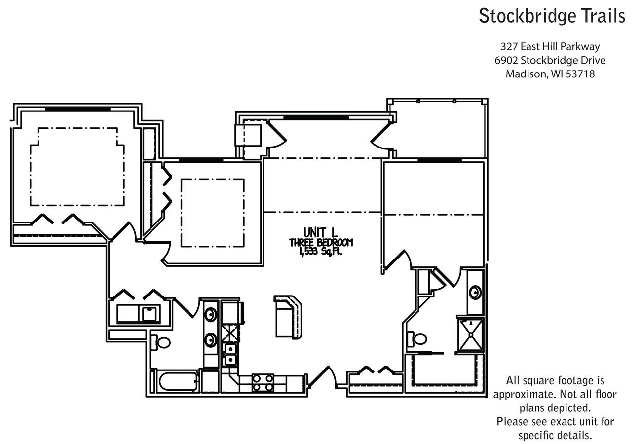 3 Bedrooms 2 Bathrooms Apartment for rent at Stockbridge Trails in Madison, WI