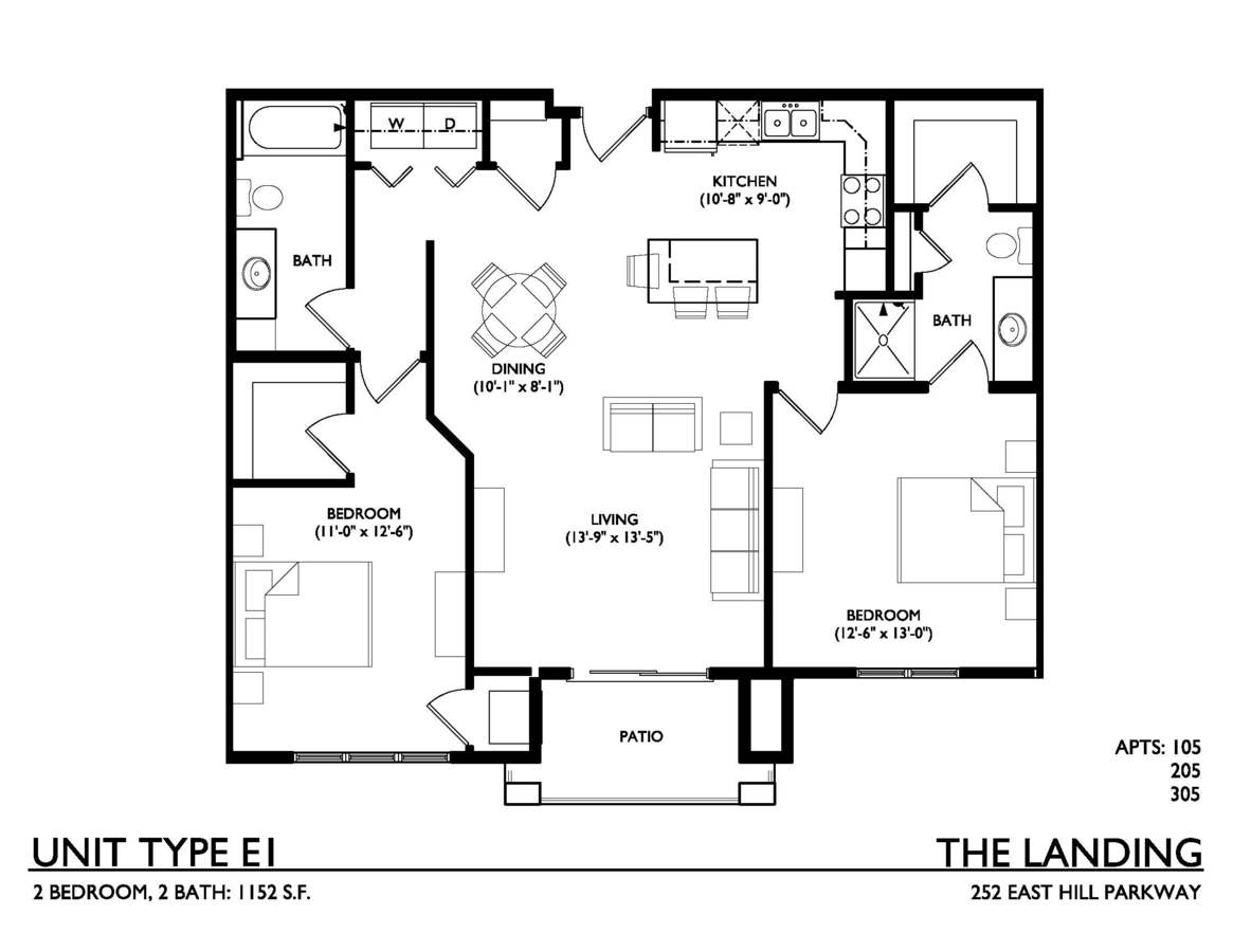 2 Bedrooms 2 Bathrooms Apartment for rent at The Landing on East Hill Parkway in Madison, WI