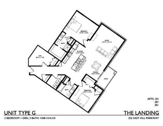 3 Bedrooms 2 Bathrooms Apartment for rent at The Landing on East Hill Parkway in Madison, WI
