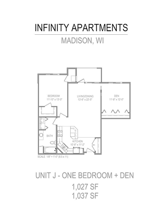 1 Bedroom 1 Bathroom Apartment for rent at Infinity in Madison, WI