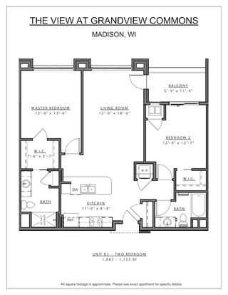 2 Bedrooms 1 Bathroom Apartment for rent at The View At Grandview Commons in Madison, WI