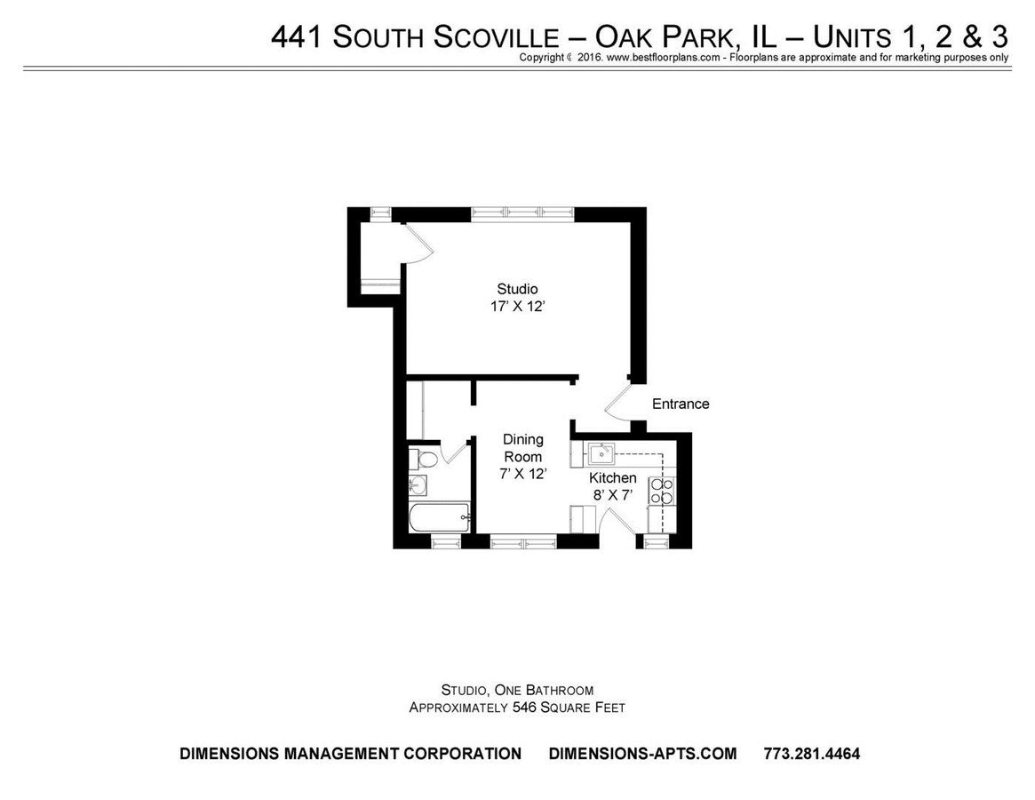 Studio 1 Bathroom Apartment for rent at 437-43 S. Scoville 500 W. Madison in Oak Park, IL