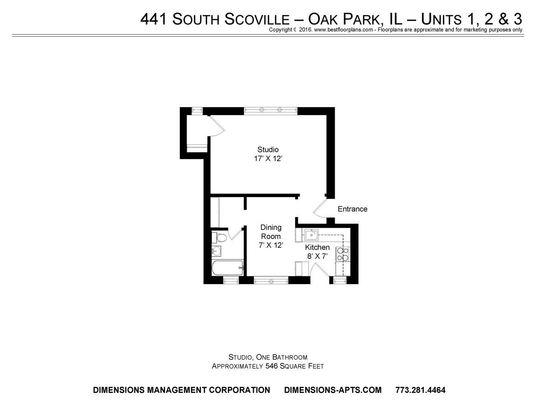 Studio 1 Bathroom Apartment for rent at 437 43 S. Scoville 500 W. Madison in Oak Park, IL
