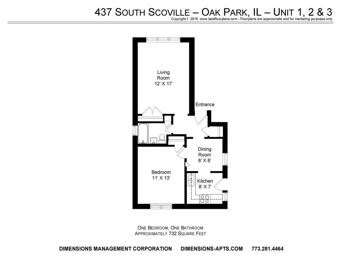 1 Bedroom 1 Bathroom Apartment for rent at 437-43 S. Scoville 500 W. Madison in Oak Park, IL