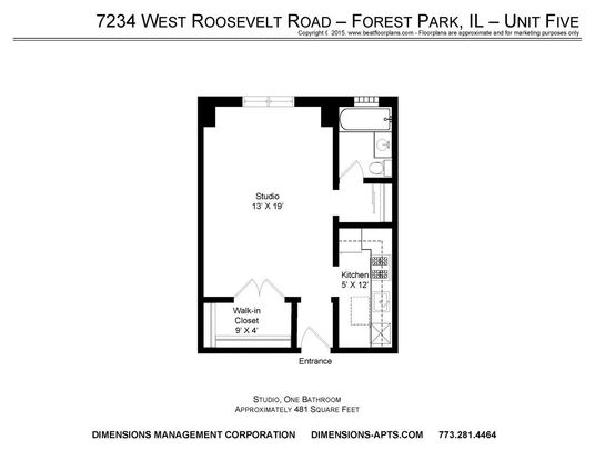 Studio 1 Bathroom Apartment for rent at 7226 34 W. Roosevelt Road in Forest Park, IL