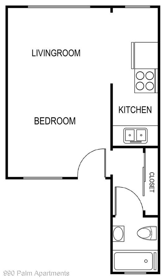 Studio 1 Bathroom Apartment for rent at 990 Palm Avenue in West Hollywood, CA