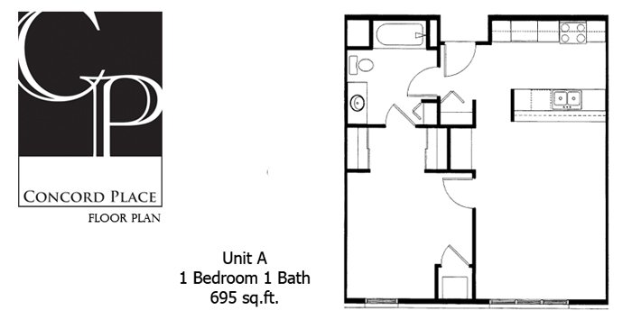 1 Bedroom 1 Bathroom Apartment for rent at Concord Place Apartments in Oshkosh, WI