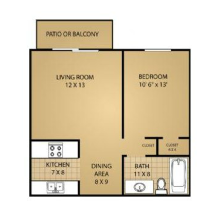 1 Bedroom 1 Bathroom Apartment for rent at Fitchburg Square Apartments in Fitchburg, WI