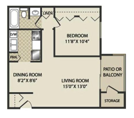 1 Bedroom 1 Bathroom Apartment for rent at The Pines Apartments & Townhomes in Fitchburg, WI