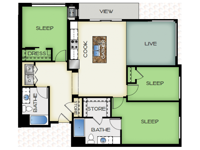 3 Bedrooms 2 Bathrooms Apartment for rent at 50Twenty in Madison, WI