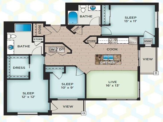 3 Bedrooms 2 Bathrooms Apartment for rent at The Vue in Fitchburg, WI