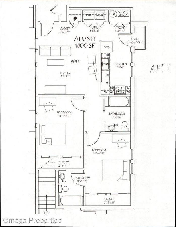 2 Bedrooms 2 Bathrooms Apartment for rent at 118 E. 7th St. in Bloomington, IN