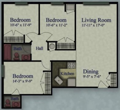 3 Bedrooms 1 Bathroom Apartment for rent at Grantosa Crossing Apartments in Milwaukee, WI
