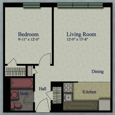 1 Bedroom 1 Bathroom Apartment for rent at Royal Plaza Apartments in Milwaukee, WI