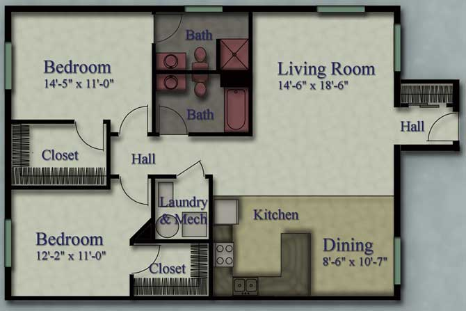 2 Bedrooms 1 Bathroom Apartment for rent at Fischer Heights Apartments in Butler, WI