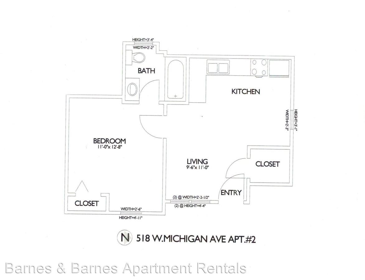 1 Bedroom 1 Bathroom Apartment for rent at 518 W. Michigan Ave in Ypsilanti, MI