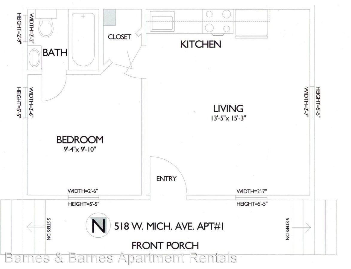 1 Bedroom 1 Bathroom Apartment for rent at 518 W. Michigan Ave in Ypsilanti, MI