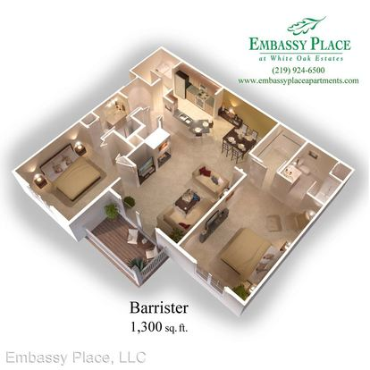 2 Bedrooms 2 Bathrooms Apartment for rent at Embassy Place 2219 Teakwood Circle in Highland, IN