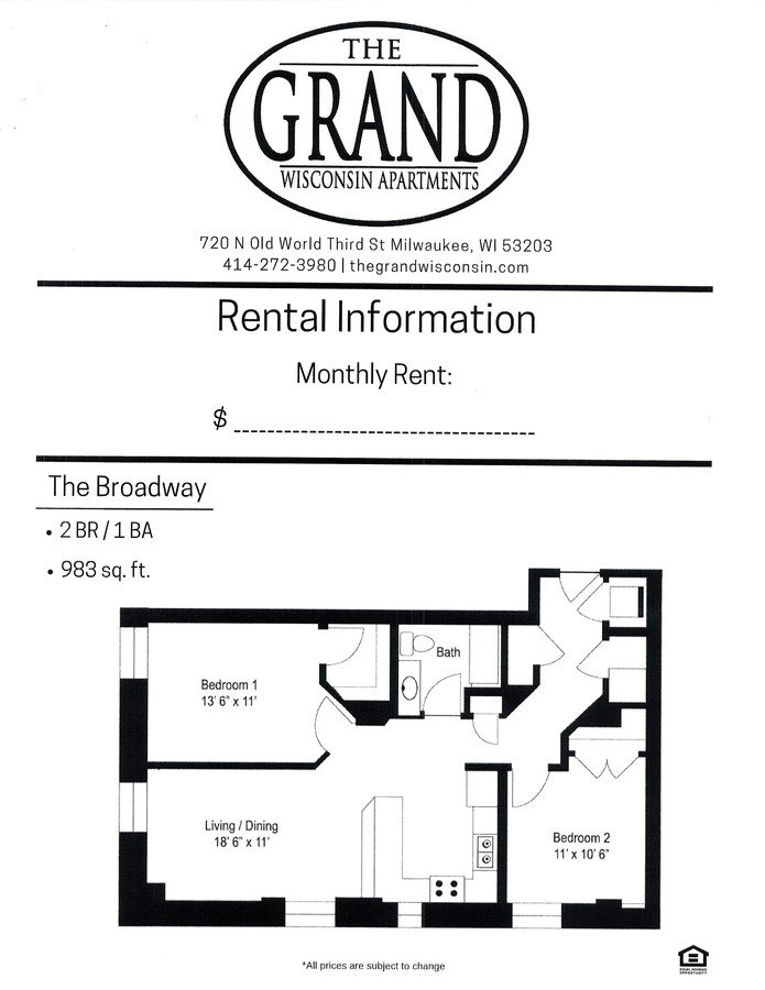 2 Bedrooms 1 Bathroom Apartment for rent at The Grand Wisconsin in Milwaukee, WI