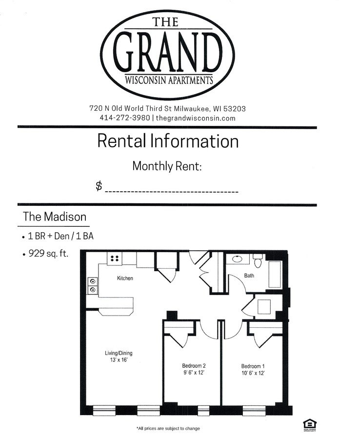 1 Bedroom 1 Bathroom Apartment for rent at The Grand Wisconsin in Milwaukee, WI