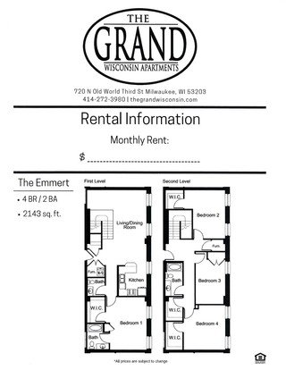 4 Bedrooms 3 Bathrooms Apartment for rent at The Grand Wisconsin in Milwaukee, WI