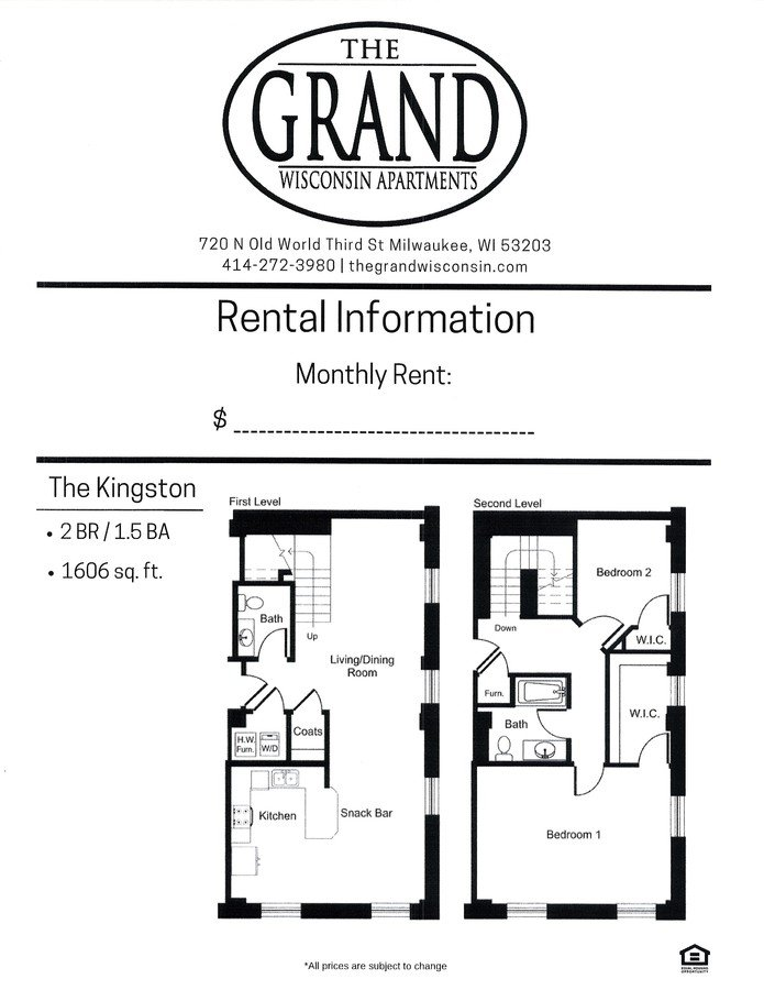 2 Bedrooms 2 Bathrooms Apartment for rent at The Grand Wisconsin in Milwaukee, WI