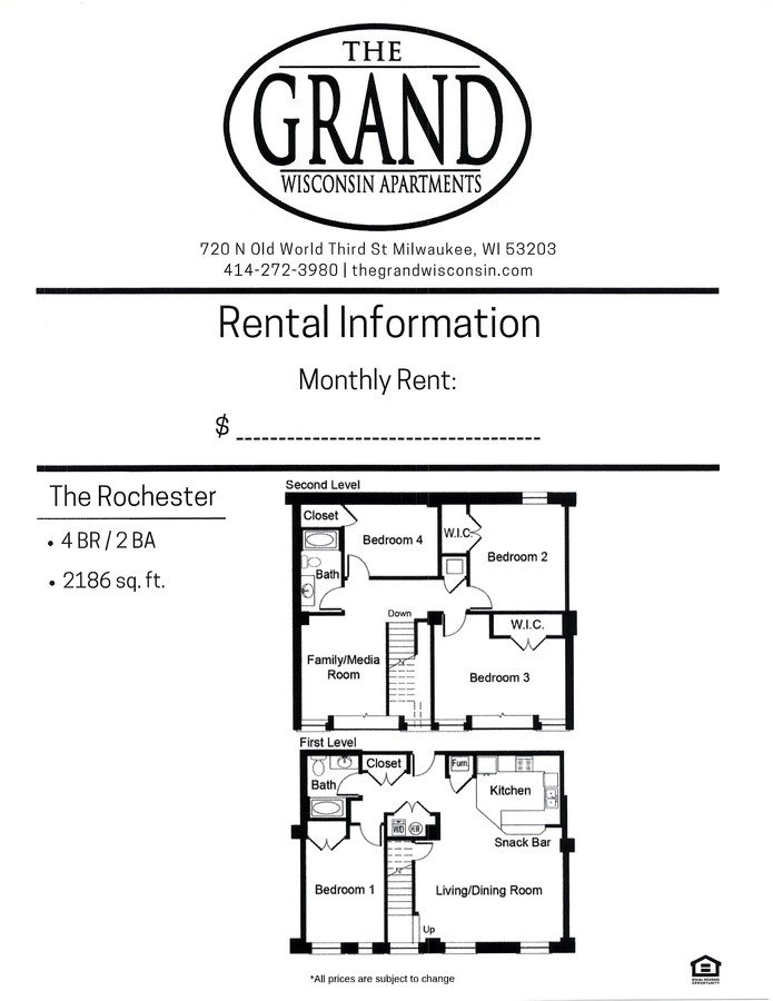 4 Bedrooms 2 Bathrooms Apartment for rent at The Grand Wisconsin in Milwaukee, WI